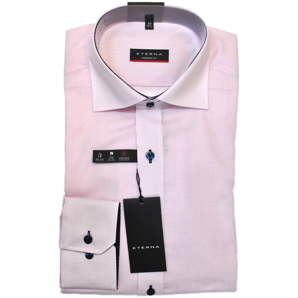 Eterna Micro Check Shirt - Pink - Livingston - Castle Douglas