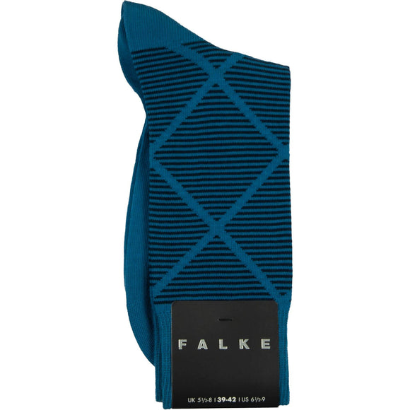 Falke Diamond Stripe Cotton Sock - Kingfisher