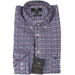 Fynch Hatton Printed Shirt - Navy/Claret
