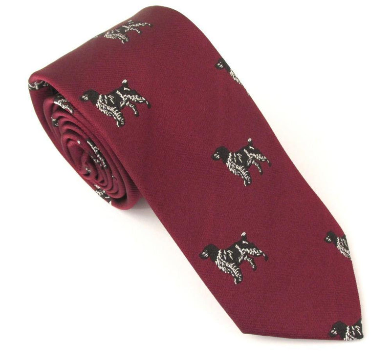 Van Buck Silk Sporting Tie - Maroon Dogs - Livingston - Castle Douglas