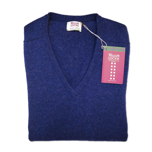 William Lockie Lambswool Pullover Astra Blue
