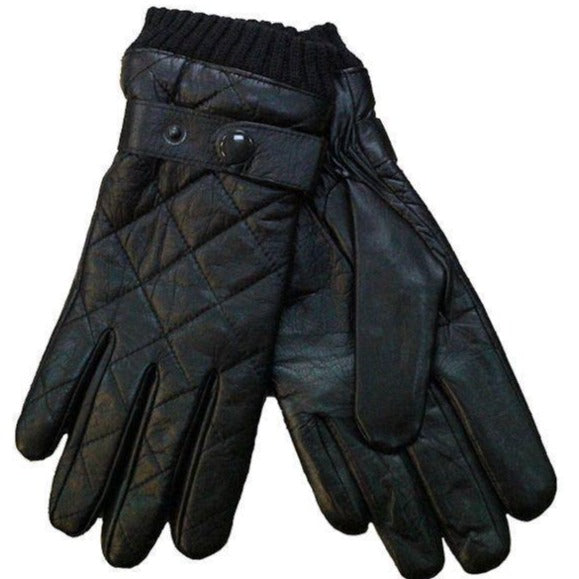Quilted Leather Gloves - Black