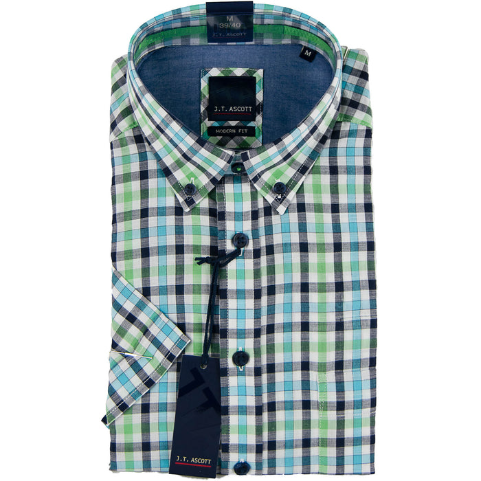 J T Ascott Short Sleeve Check Shirt - Blue/Green