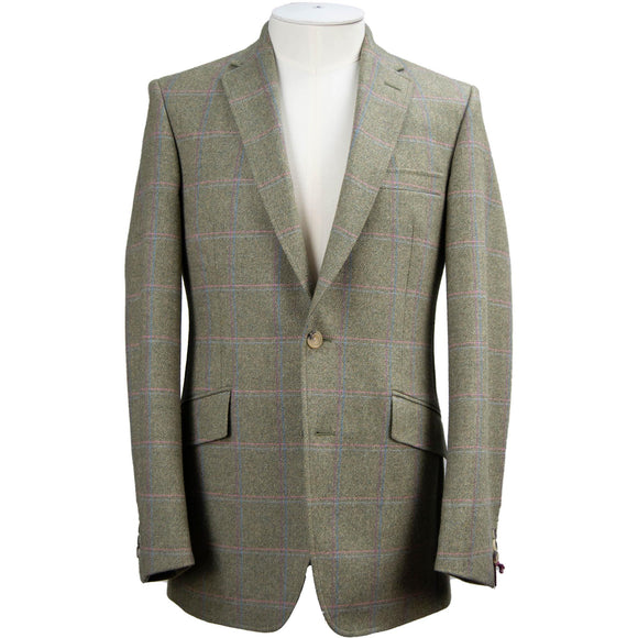Livingston Lovat Tweed Limited Edition Window Check Jacket - Sage