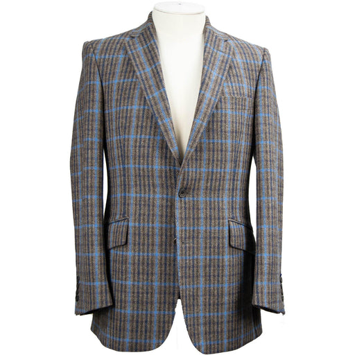 Livingston Exclusive Lovat Tweed Window Check Jacket - Mink / Sky - Livingston - Castle Douglas
