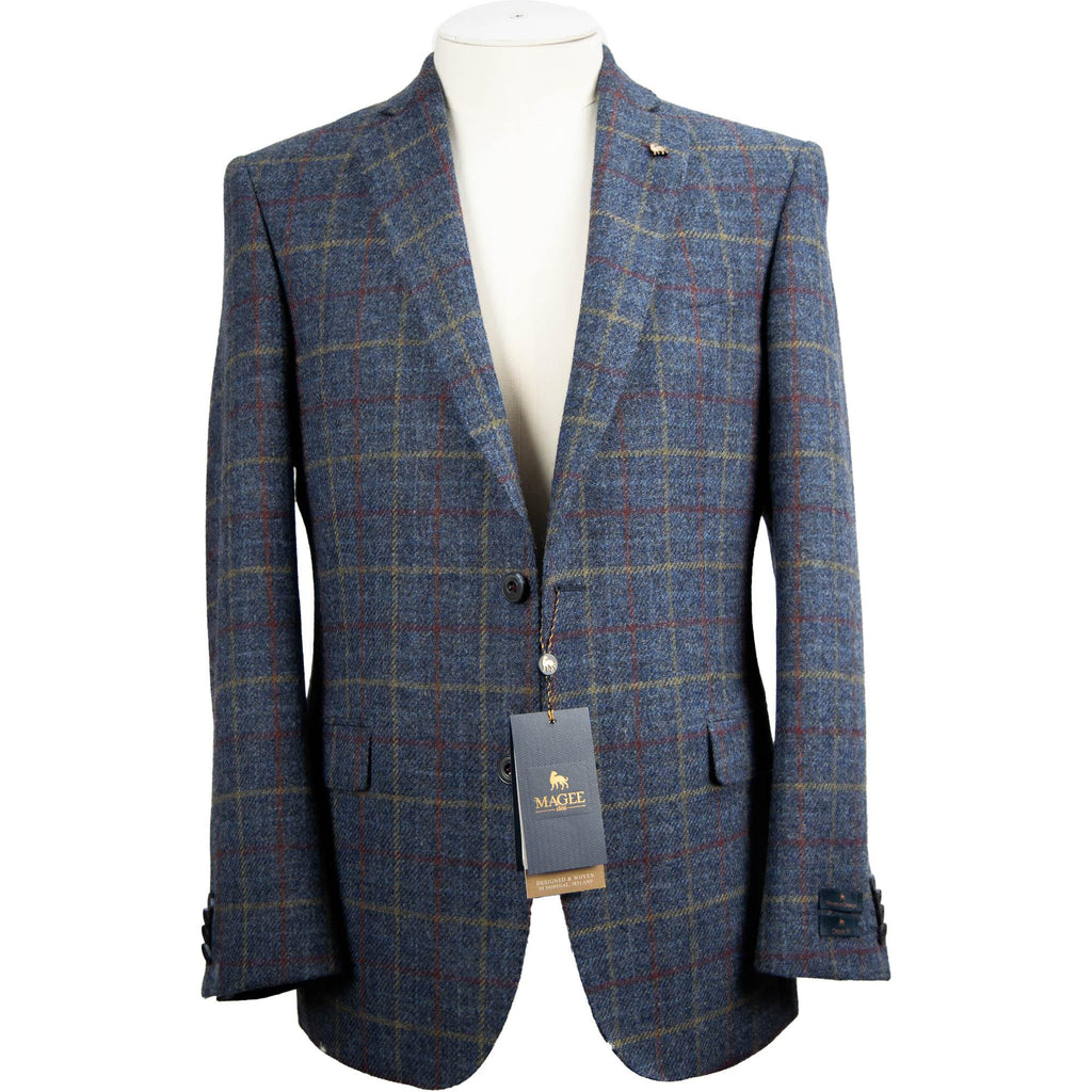 Magee Liffey Tweed Jacket - Blue Overcheck - Livingston - Castle Douglas
