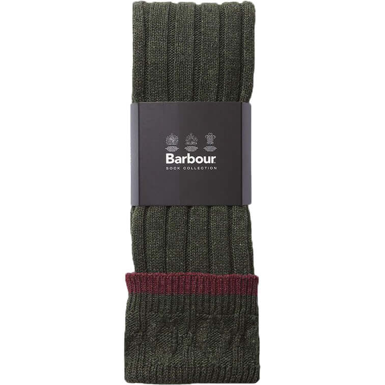 Barbour Shooting Socks - Olive / Cranberry - Livingston - Castle Douglas