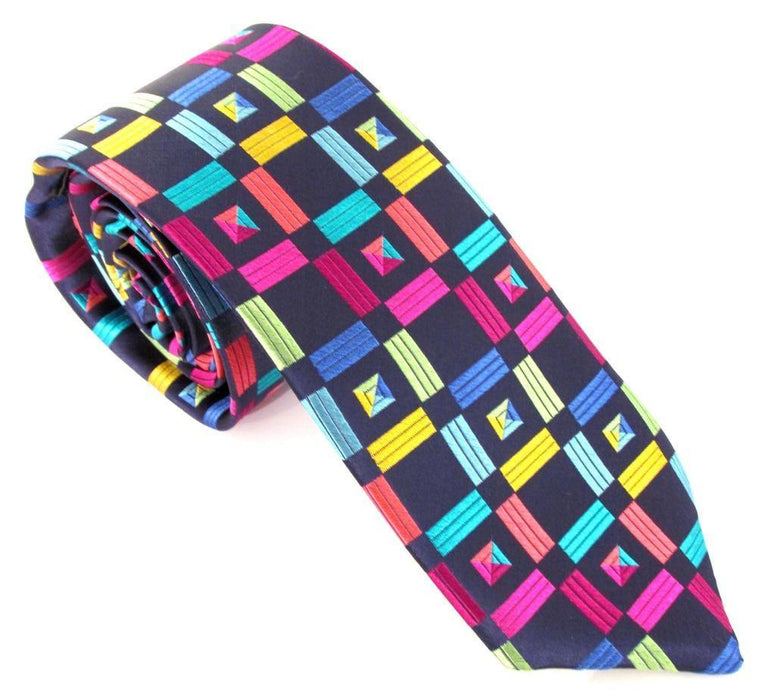 Van Buck Limited Edition Tie - Geometric Squares Navy