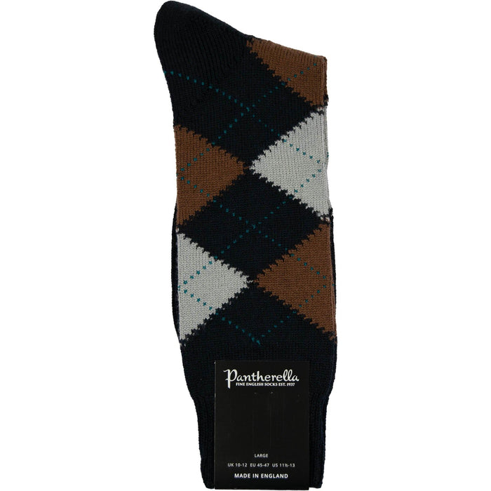 Pantherella Argyle Merino Socks - Navy