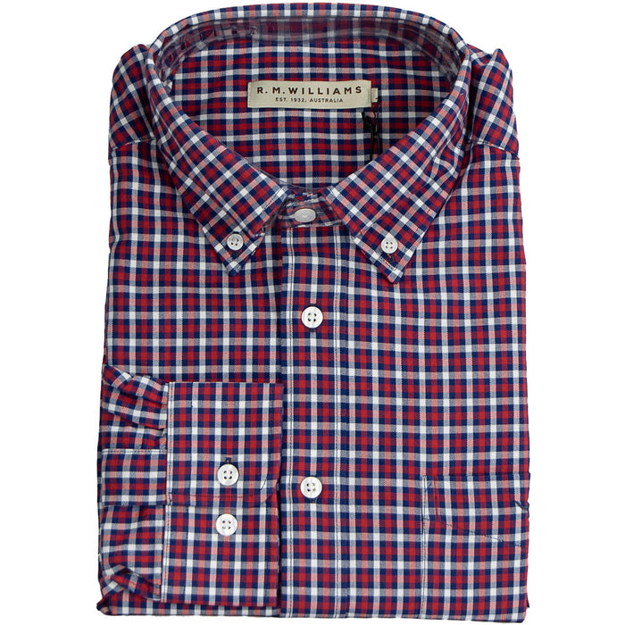R M Williams Collins Check Shirt - Red & Navy