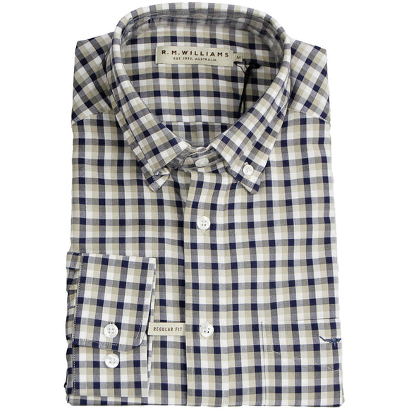 R M Williams Collins Check Shirt - Fawn & Navy