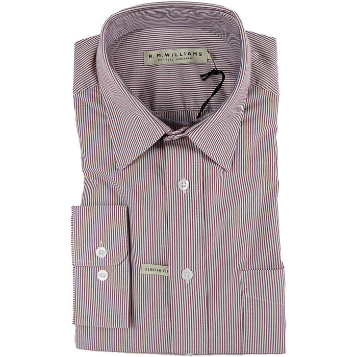 R M Williams Collins Stripe Shirt - Red