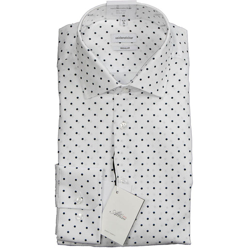 Seidensticker Premium Shirt - White with Navy Spot - Livingston - Castle Douglas