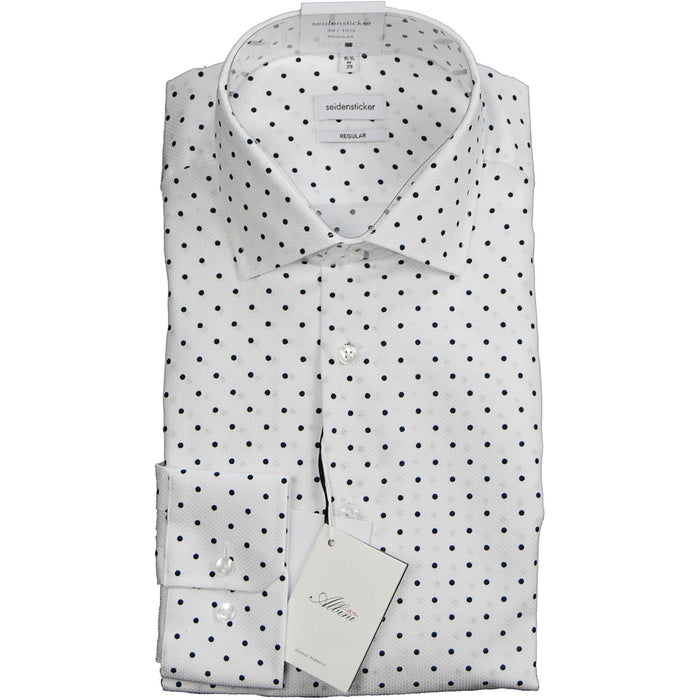 Seidensticker Premium Shirt - White with Navy Spot
