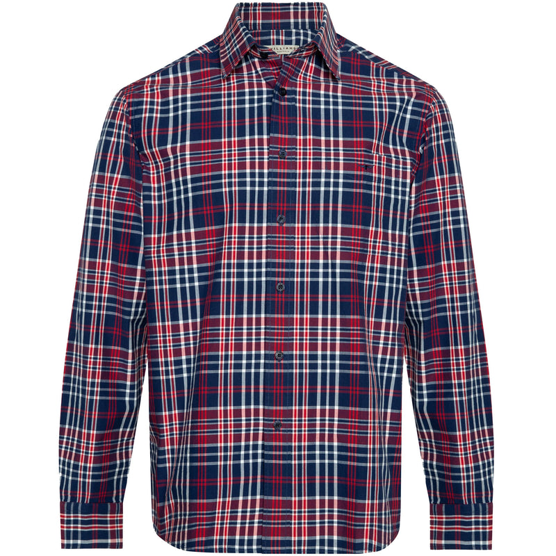 Collins  Check Shirt - Navy / Red