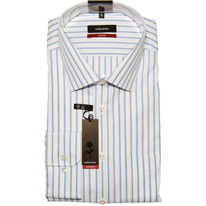 Seidensticker Wide Stripe Shirt - Sky/White
