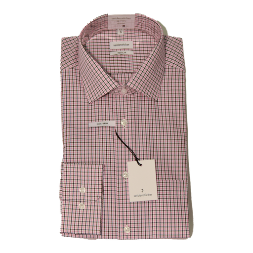 Seidensticker Small Check Shirt - Pink/Navy