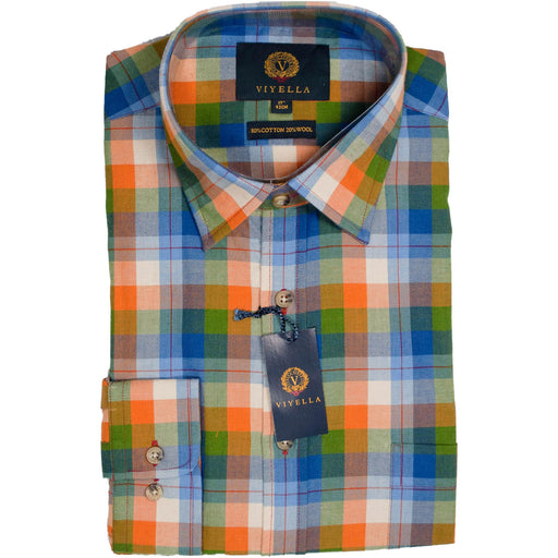 Viyella Block Check Shirt - Blue / Green / Gold - Livingston - Castle Douglas