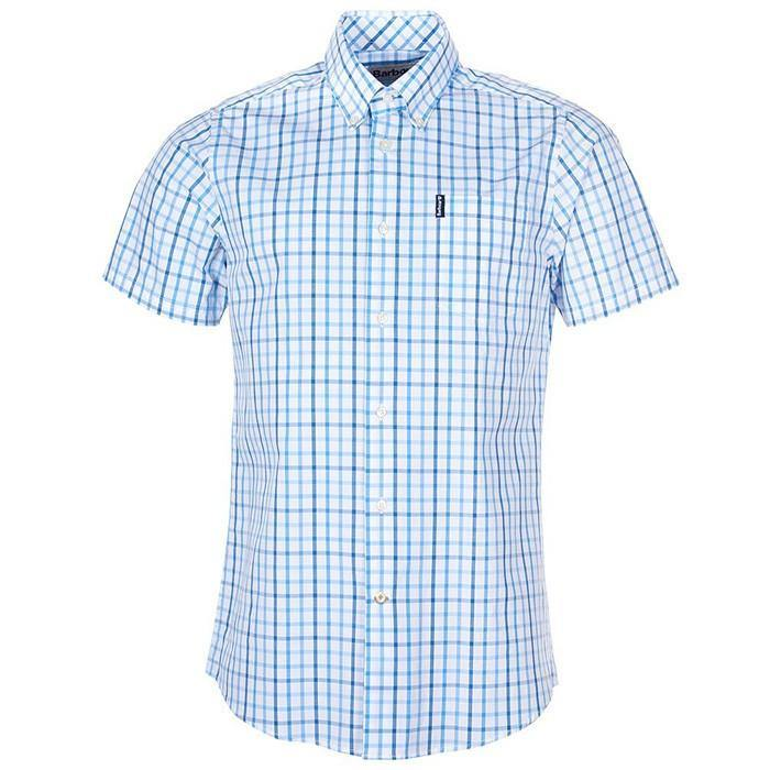 Barbour Tattersall Short Sleeve Shirt - Blue - Livingston - Castle Douglas
