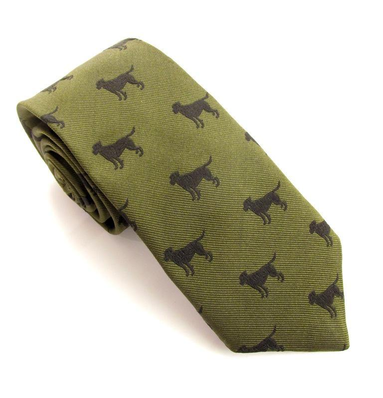 Van Buck Silk Sporting Tie - Gun Dog Green - Livingston - Castle Douglas