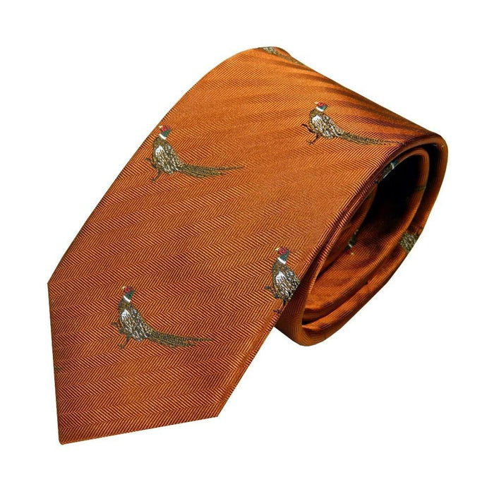 Van Buck Silk Sporting Tie - Copper Pheasant - Livingston - Castle Douglas