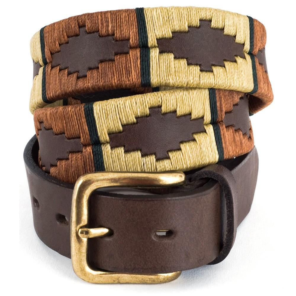 Pioneros Polo Belt Copper, Beige & Green Stripe