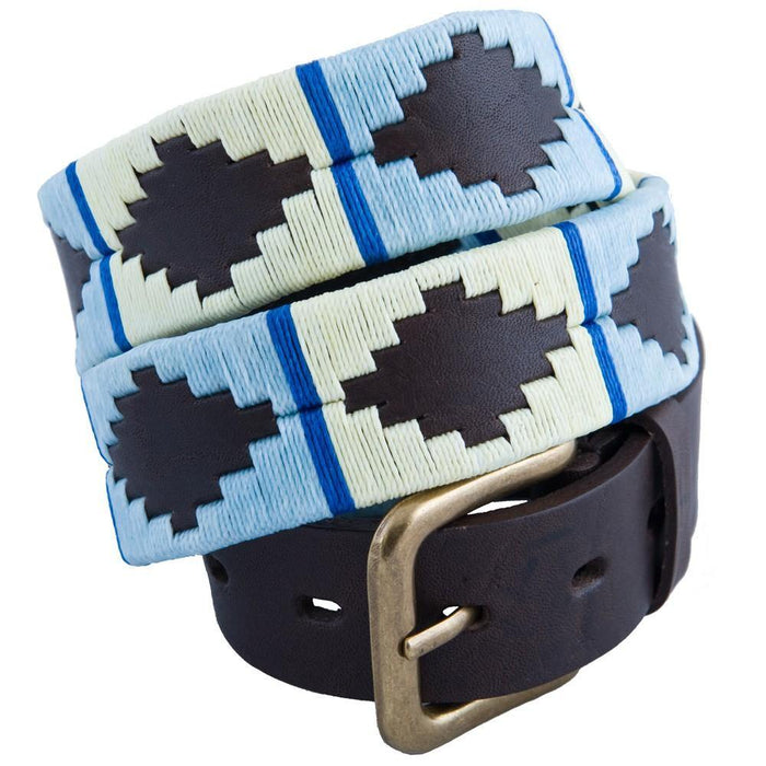 Pioneros Polo Belt Sky Blue, White & Blue Stripe