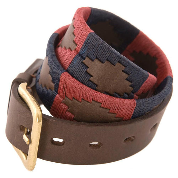 Pioneros Polo Belt Burgundy & Navy