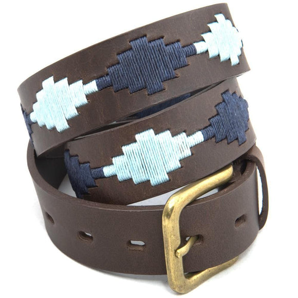 Pioneros Polo Belt Navy & Sky Blue Diamond