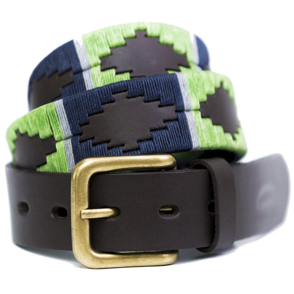 Pioneros Polo Belt Lime, Navy & Grey Stripe