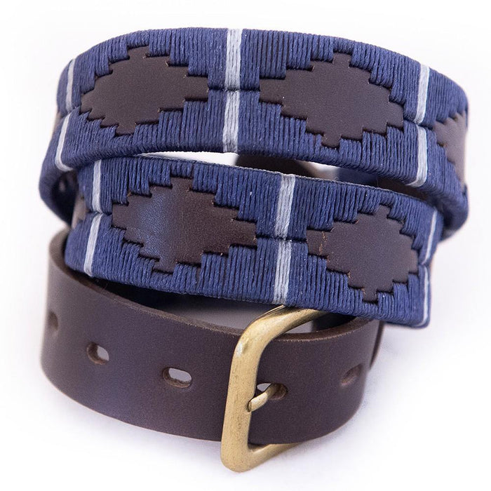 Pioneros Polo Belt Navy & Silver Grey Stripe