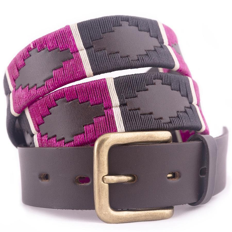 Pioneros Polo Belt - Purple Black White Stripe - Livingston - Castle Douglas