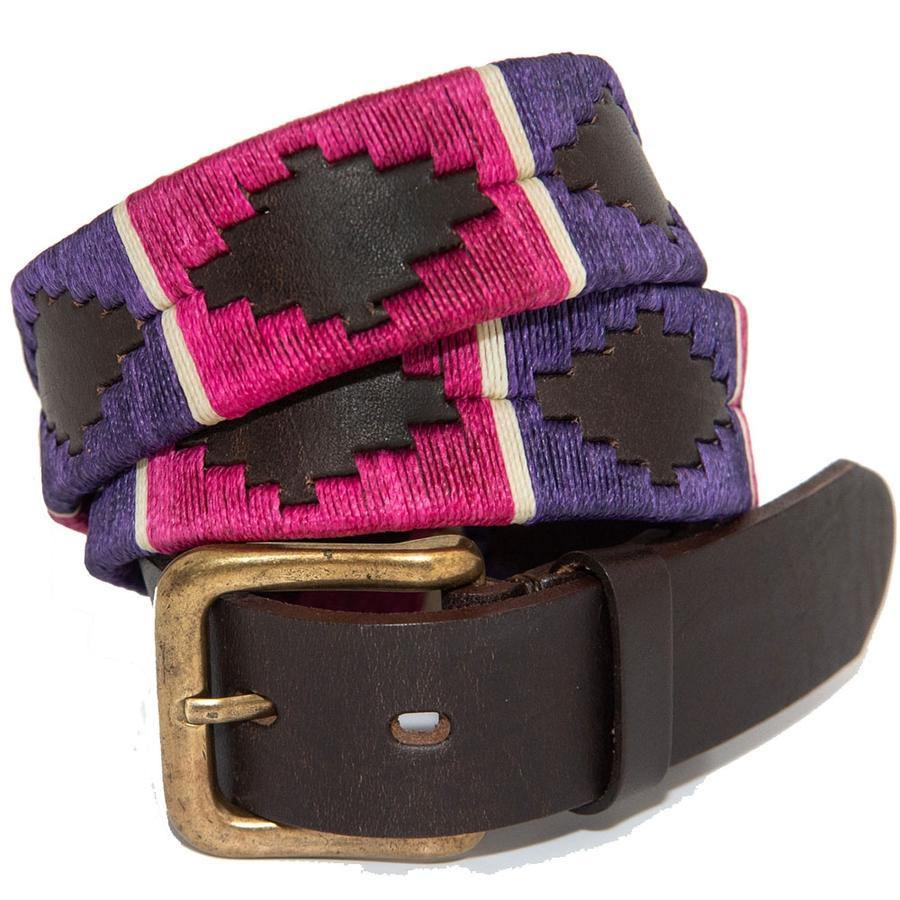 Pioneros Polo Belt - Purple Pink White Stripe - Livingston - Castle Douglas