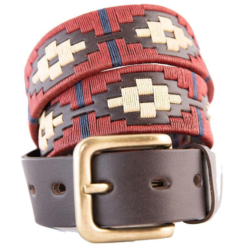 Polo Belt - Burgundy Cream Navy Stripe