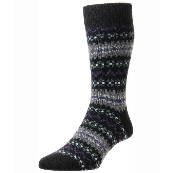 Pantherella Mead Fairisle Merino Socks - Black