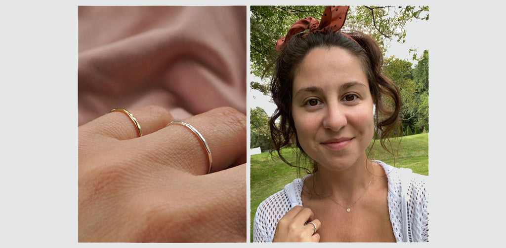 Gold and Silver textured bands on the left and founder & designer Irina on the right