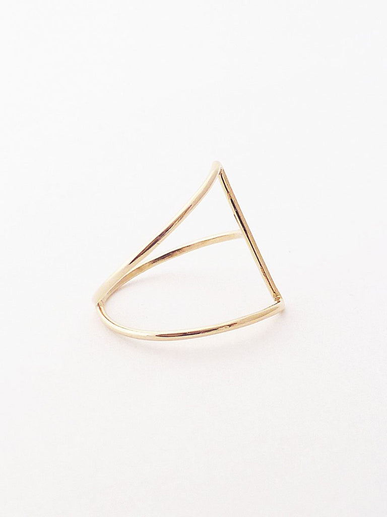 14k isosceles triangle ring