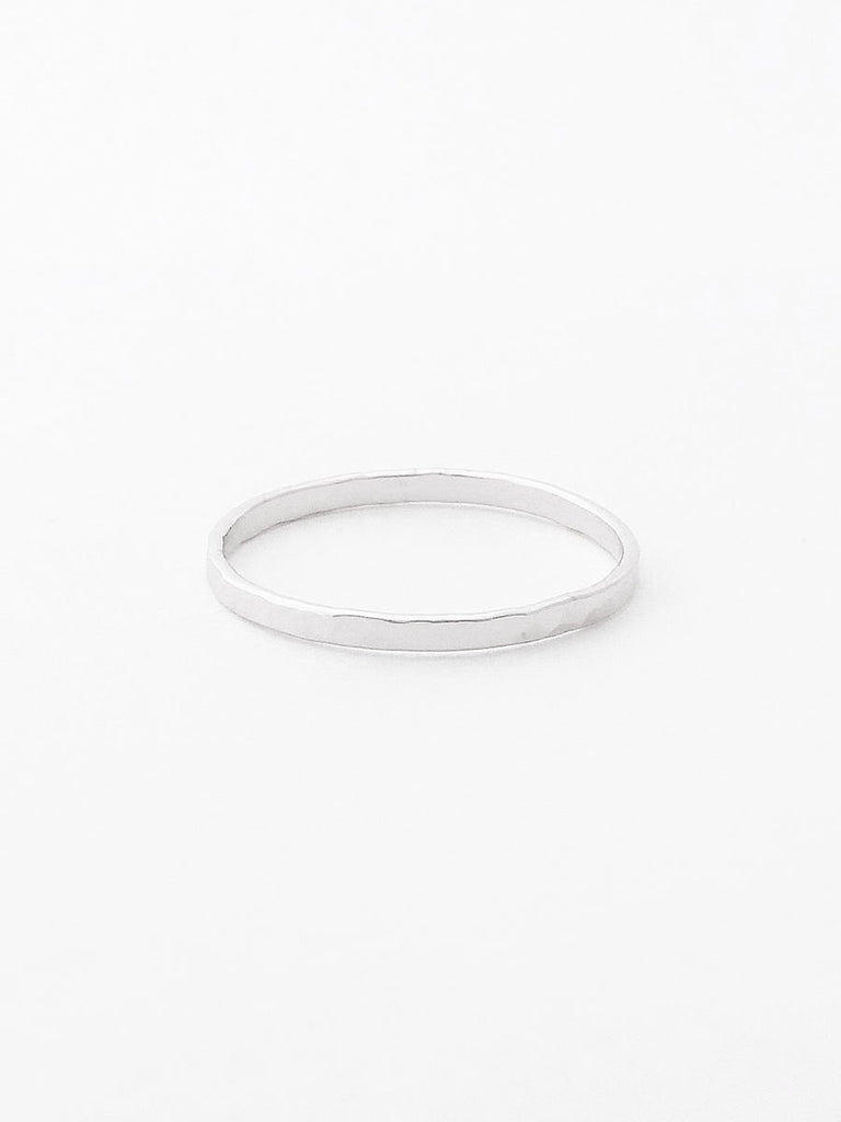 Sterling silver hammered flat band ring