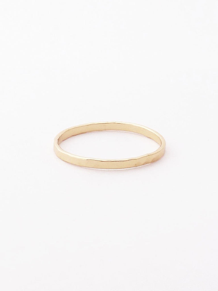14k hammered wide band ring