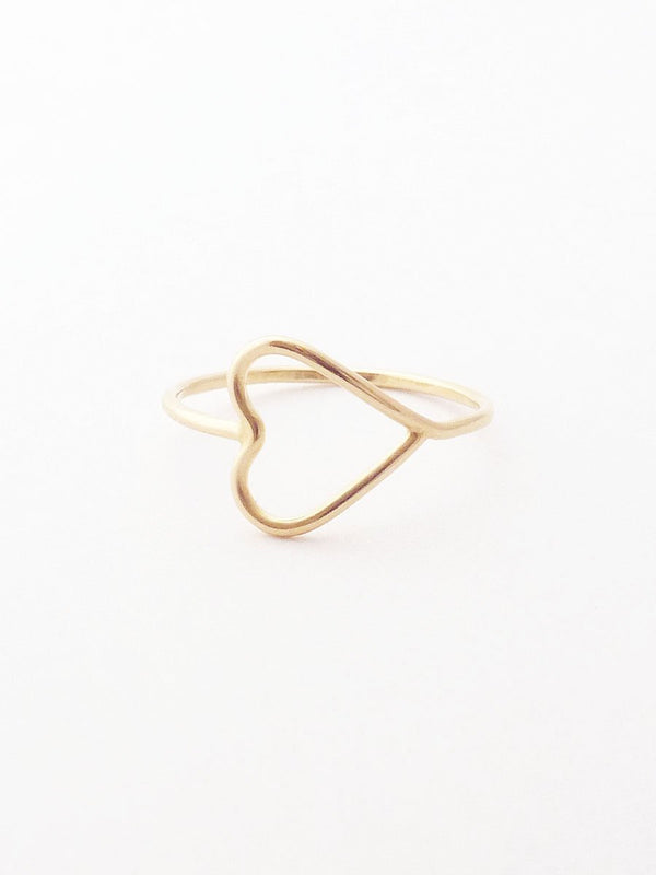 14k silhouette heart ring