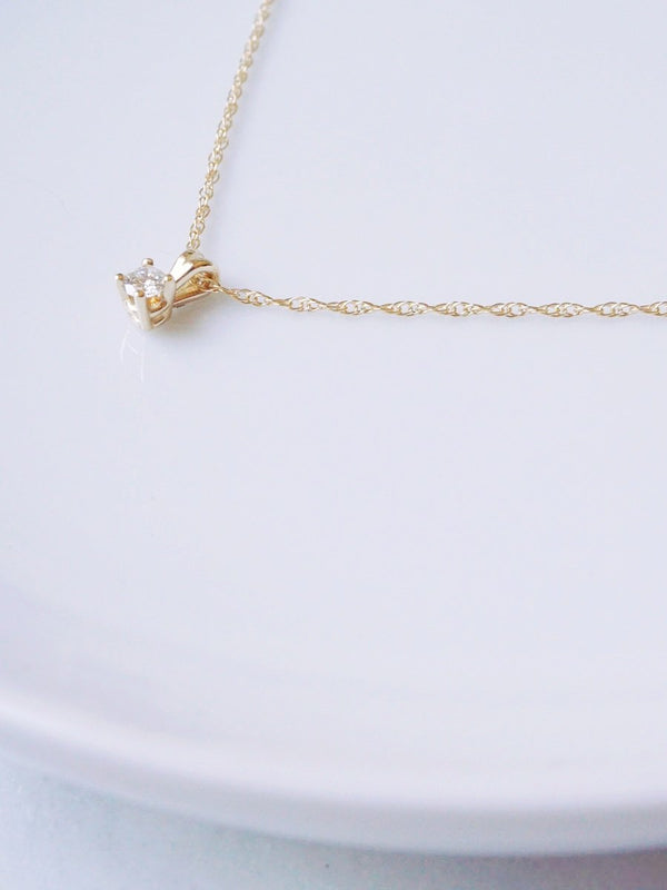 14k Solitaire Diamond Necklace