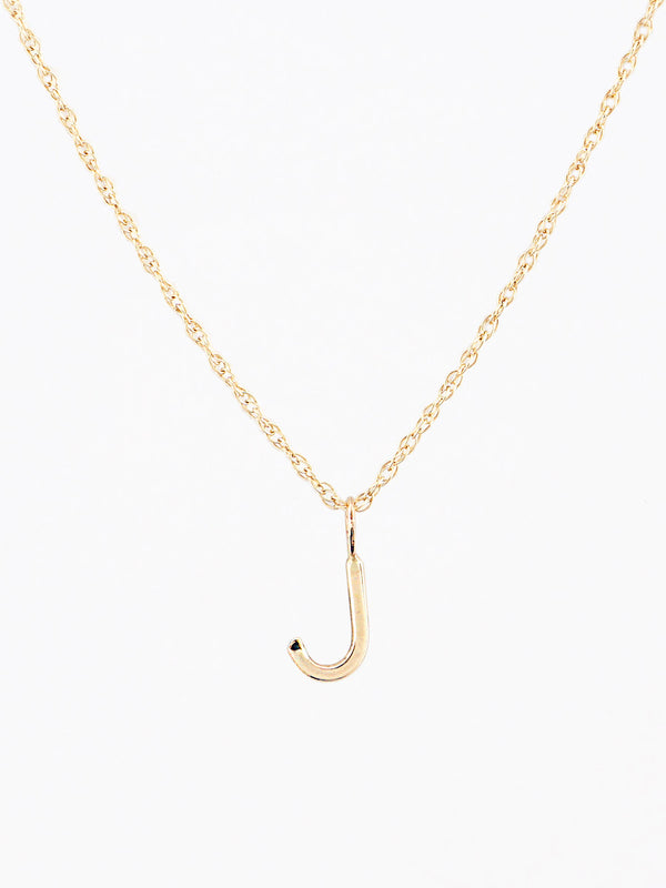 Gold mini letter J necklace