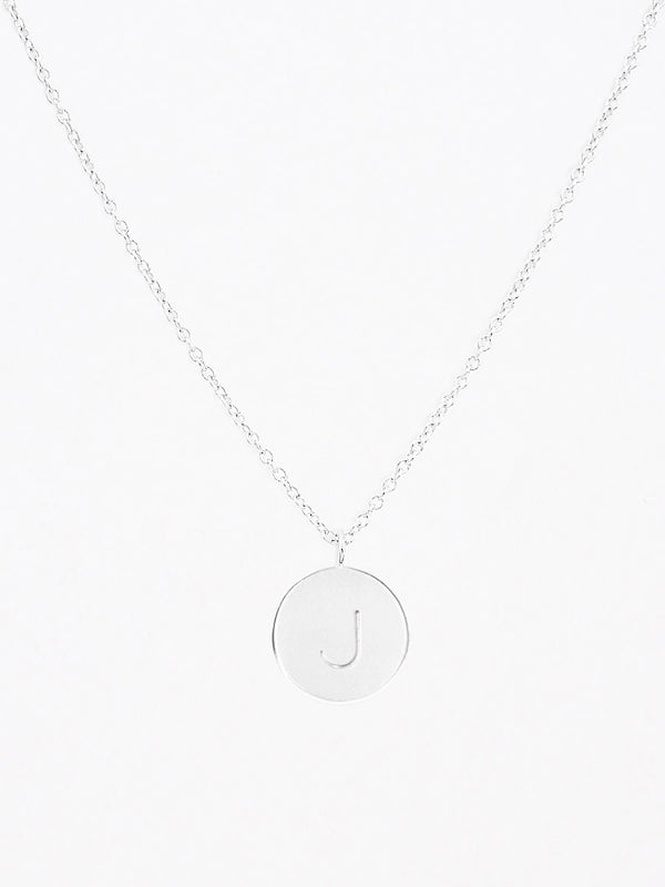 Sterling silver engraved round charm necklace