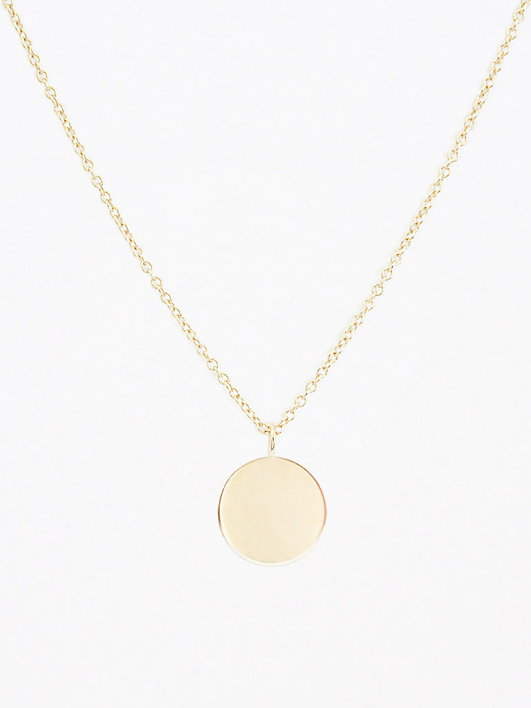 14k gold blank round charm necklace