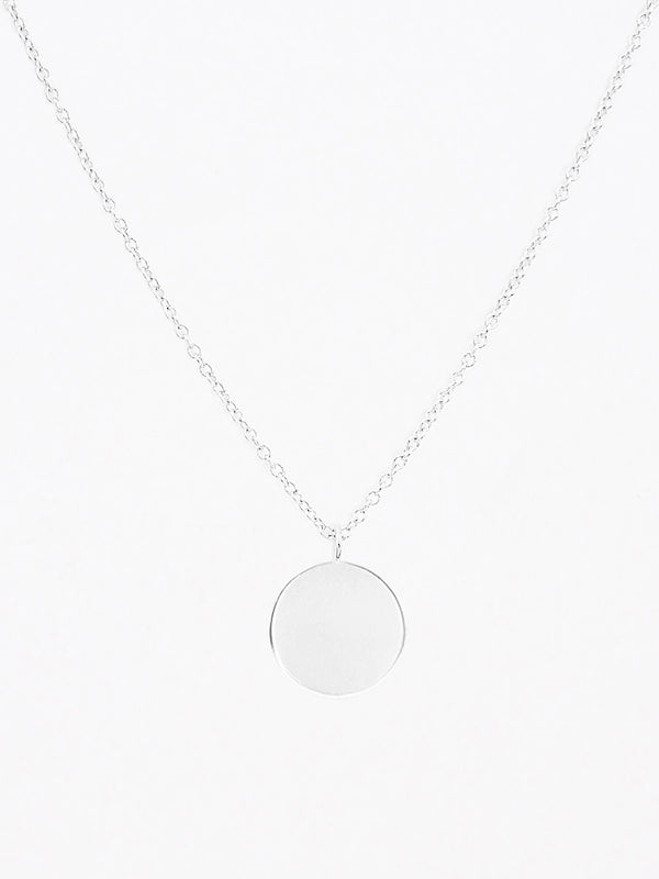 Sterling silver blank disc pendant necklace