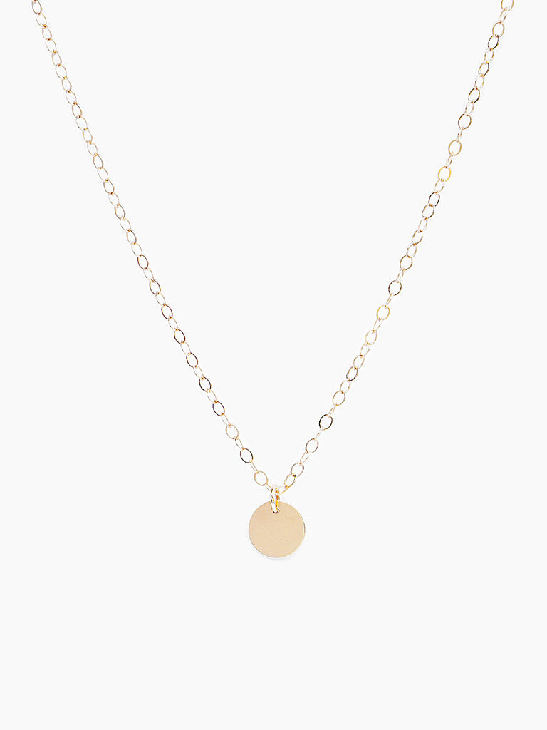 14k gold small round charm necklace