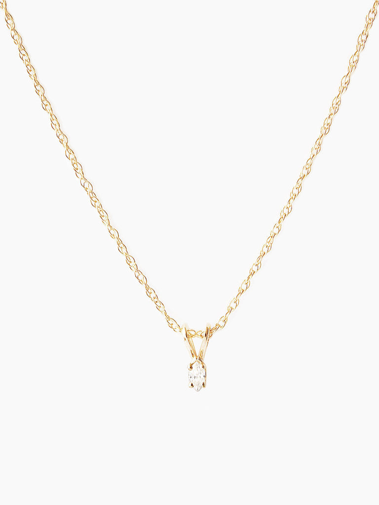 14k gold marquise diamond pendant necklace