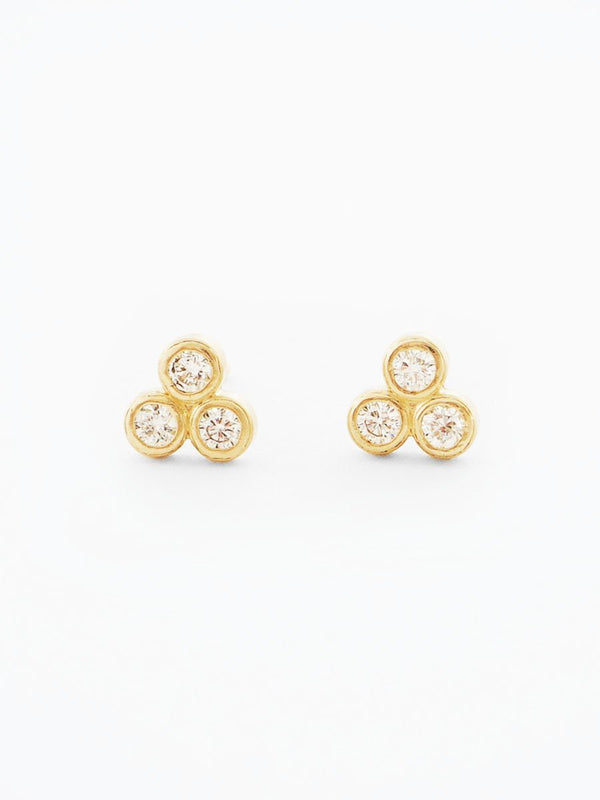 14k gold three stone diamond studs