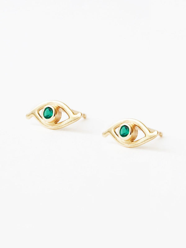 14k gold gemstone evil eye studs