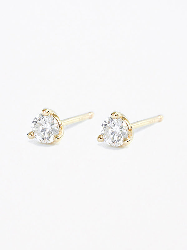 14k gold round diamond studs